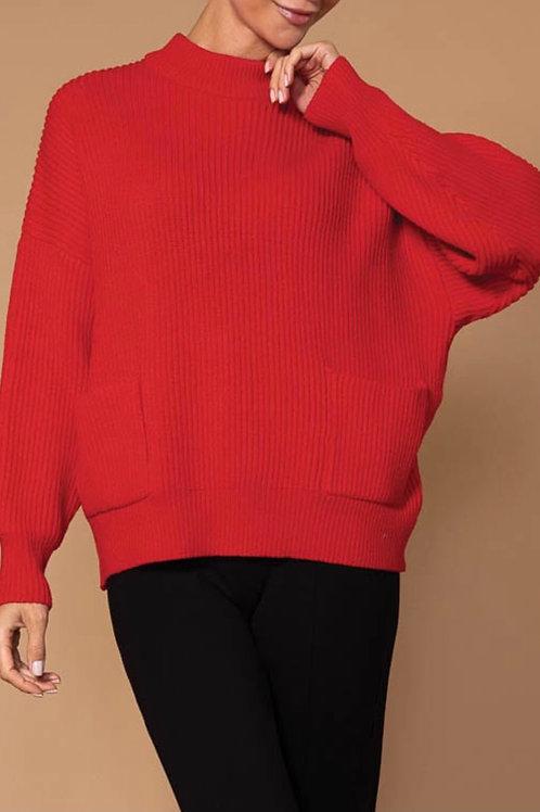 Tricot rouge à poches Elena Wang