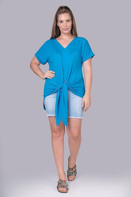 Haut long noué turquoise Mat. Fashion