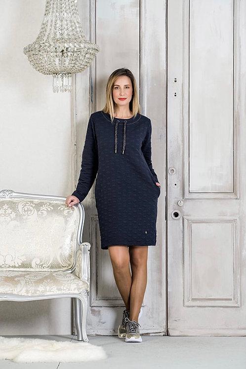 Robe style chandail coton ouaté marine Scusi