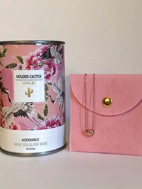 Boîte cadeau collier Adorable or rose Golden Cactus