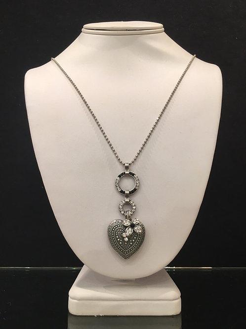 Collier coeur cristaux noir-clair Mariana