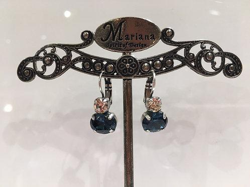 Boucles d'oreilles cristaux  champagne-bleu Mariana