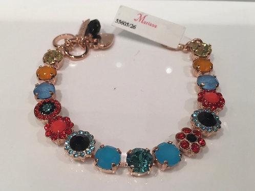 Bracelet cristaux fleurs corail-turquoise Mariana