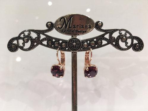 Boucles d'oreilles cristal bourgogne Mariana