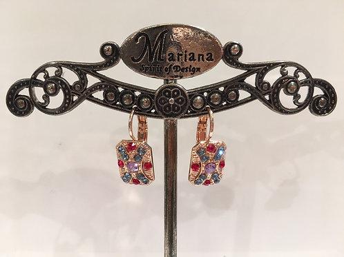Boucles d'oreilles rectangulaires multi cristaux Mariana