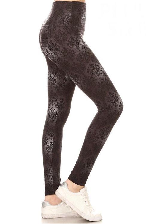 Legging motifs gris-noir