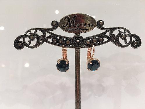 Boucles d'oreilles cristal bleu foncé Mariana