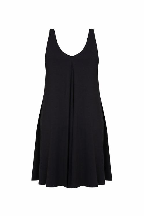 Robe décolleté en V noir Mat. Fashion