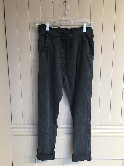 Pantalon magique italien taille effiloché noir Elissia