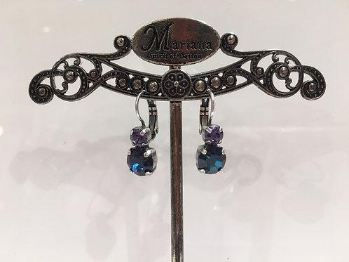 Boucles d'oreilles 2 cristaux bleus  Mariana