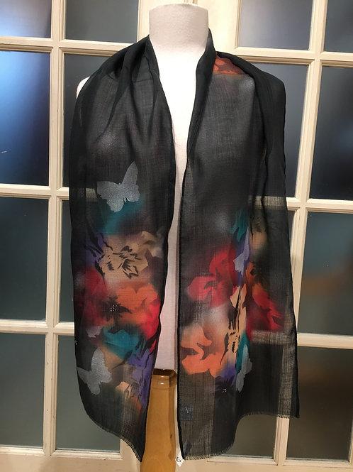 Foulard laine papillons noir