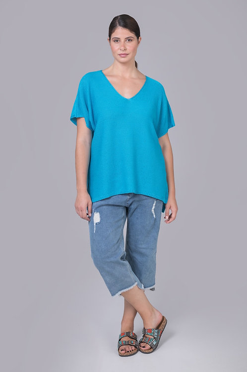 Haut tricot en V turquoise Mat. Fashion