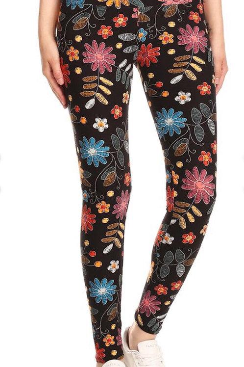 Legging fleurs  multicolores