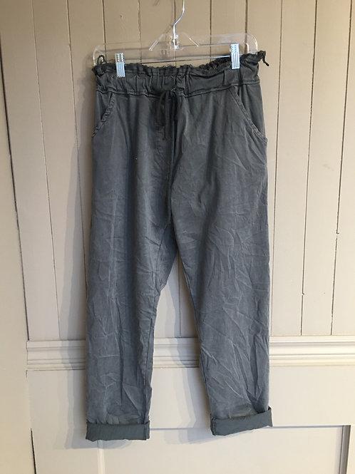 Pantalon magique italien taille effiloché gris Elissia
