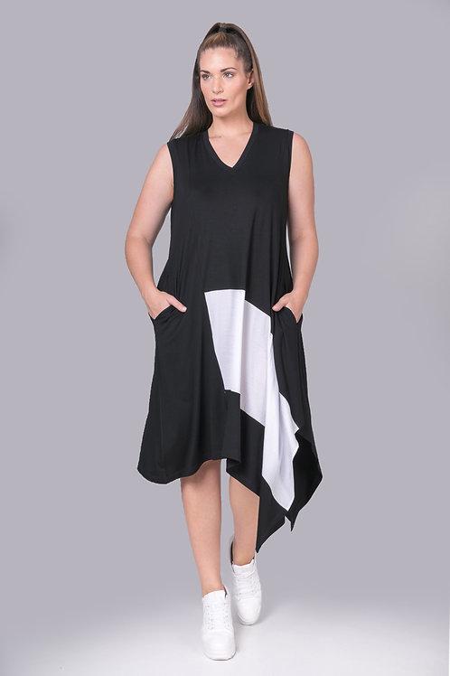 Robe en pointe  noir et blanc Mat. Fashion