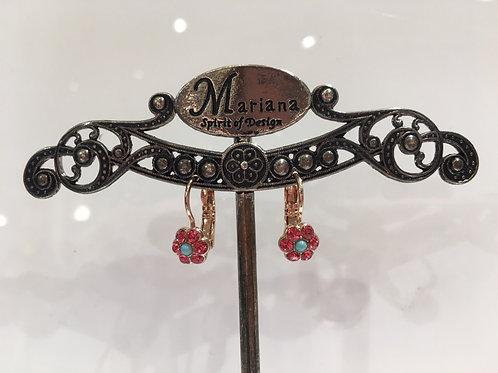 Boucles d'oreilles mini fleurs multi cristaux corail-turquoise Mariana