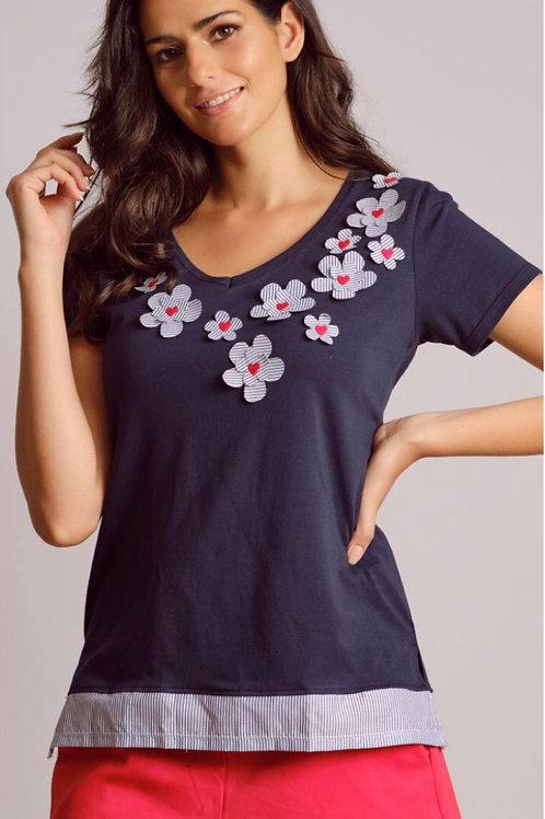 T-Shirt fleurs et  coeurs Scorzzo