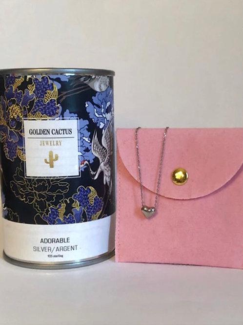 Boîte cadeau collier coeur  argent Golden Cactus