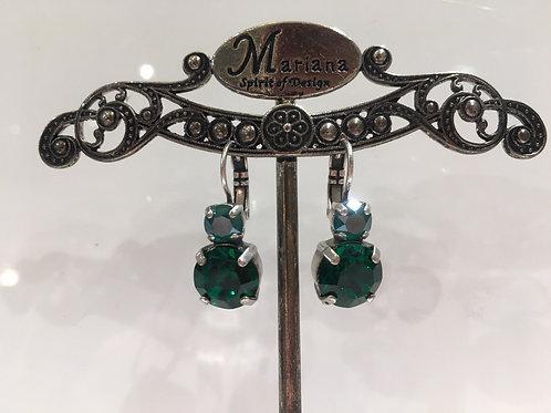 Boucles d'oreilles cristaux vert émeraude Mariana