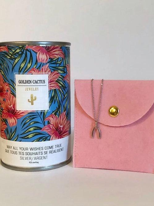 Boîte cadeau collier chance argent Golden Cactus