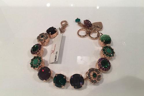 Bracelet cristaux fleurs bourgogne-émeraude Mariana