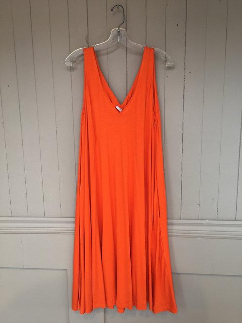 Robe décolleté en V orange Mat. Fashion