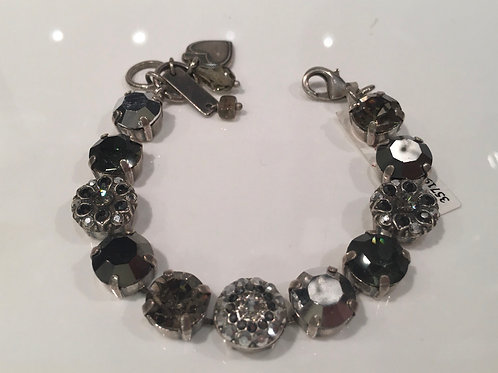 Bracelet cristaux fleurs gris-noir Mariana