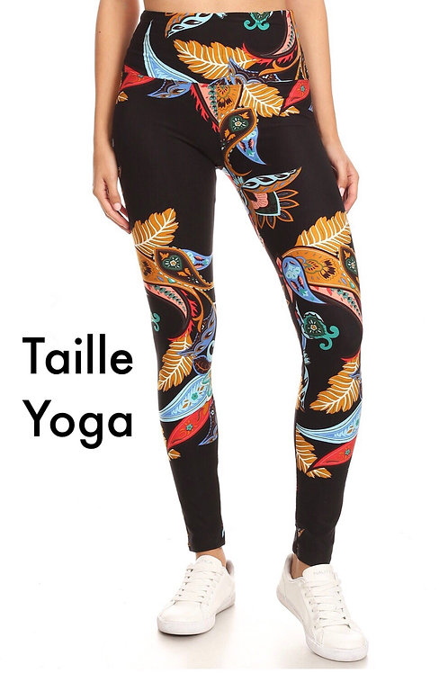 Legging Paisley multicolores taille yoga