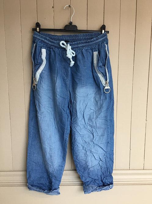 Pantalon italien 3/4 jeans Elissia