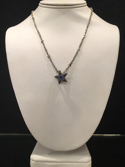 Collier étoile cristaux bleu cobalt Mariana