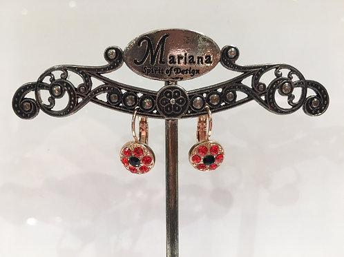Boucles d'oreilles fleurs multi cristaux  rouge-noir Mariana