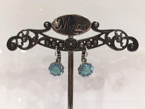 Boucles d'oreilles multi cristaux bleu-opale menthe  Mariana