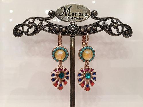 Boucles d'oreilles pendantes cristaux et pierres semi-précieuses Mariana