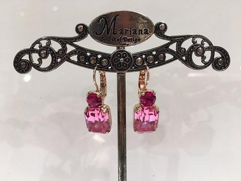 Boucles d'oreilles rectangulaires et cristaux rose Mariana