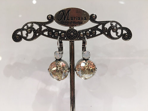 Boucles d'oreilles cristaux champagne-opale Mariana