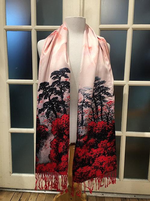 Foulard soie rose- rouge