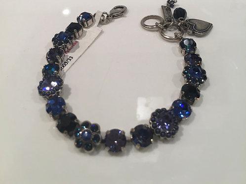 Bracelet cristaux fleurs bleu cobalt Mariana