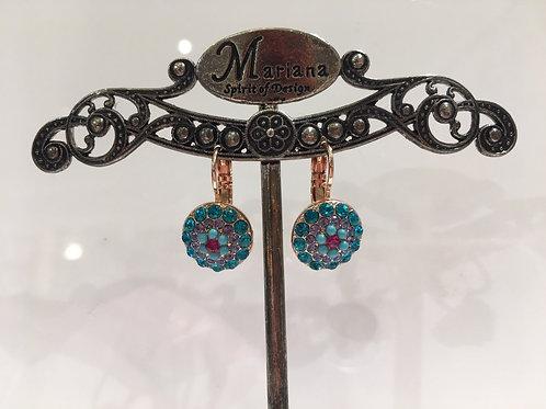 Boucles d'oreilles cristaux rose, turquoise Mariana
