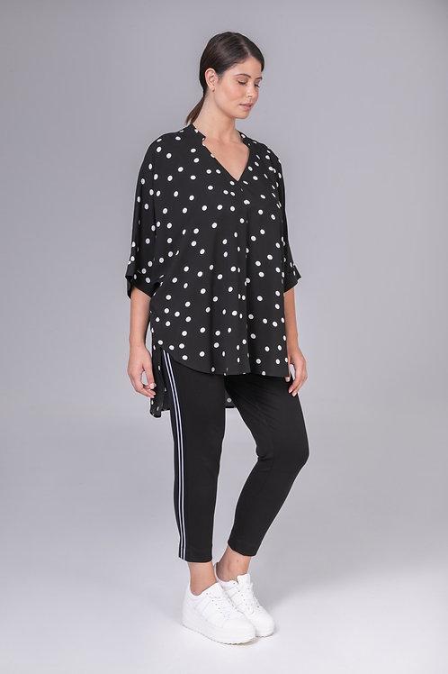 Haut ample noir à pois blanc  Mat.Fashion