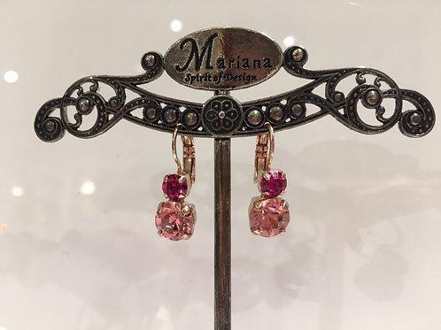 Boucles d'oreilles cristaux 2 tons roses Mariana