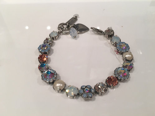Bracelet cristaux fleurs bleus-perles Mariana