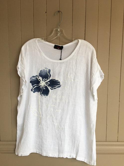 Chandail fleur bleu Elissia