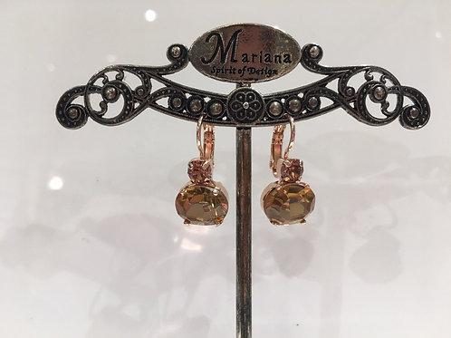 Boucles d'oreilles cristaux 2 tons ambres Mariana