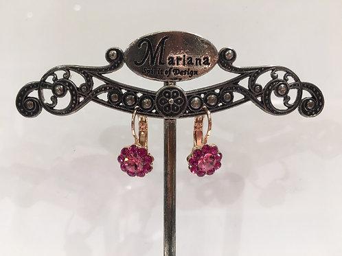 Boucles d'oreilles fleurs cristaux rose Mariana