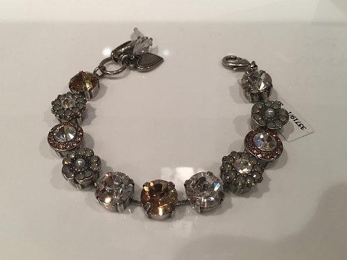 Bracelet cristaux fleurs perle-clair-champagne Mariana