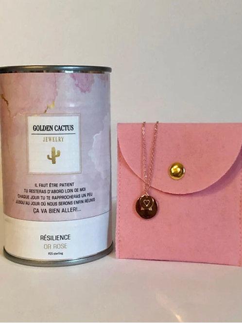 Boîte cadeau collier Résilience or rose Golden Cactus