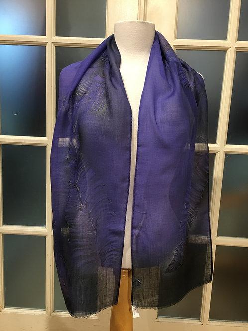 Foulard laine plume mauve