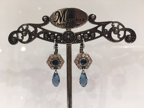 Boucles d'oreilles multi cristaux bleu-champagne  avec pendant Mariana