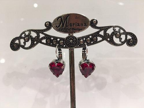 Boucles d'oreilles cristal cœur  rouge Mariana