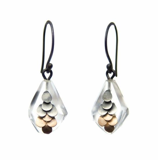 Mini Murmur earrings in two tone Rose gold